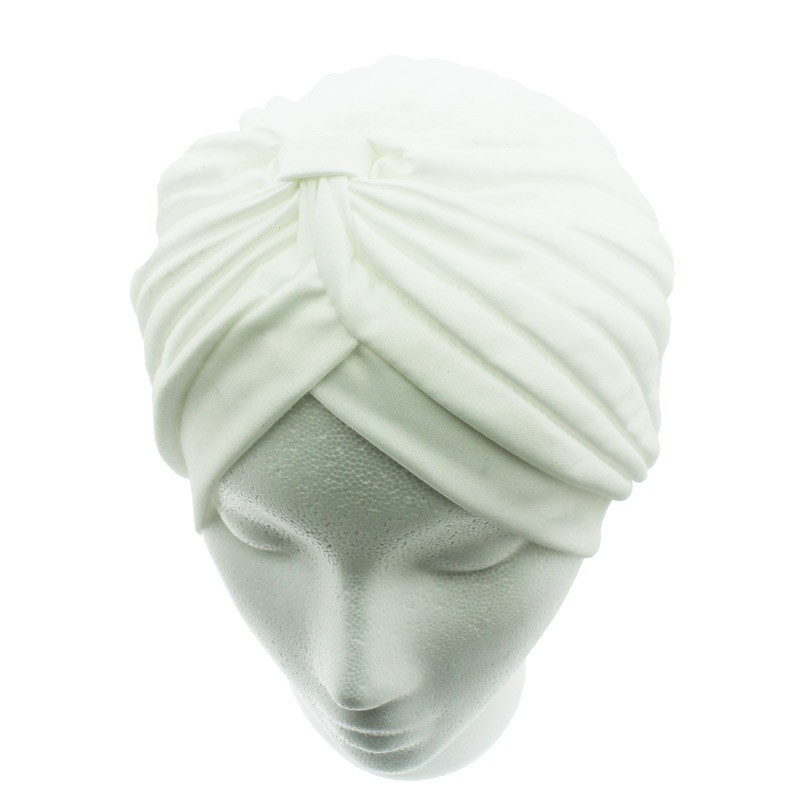 Jersey Turban Hat In Cream Colour