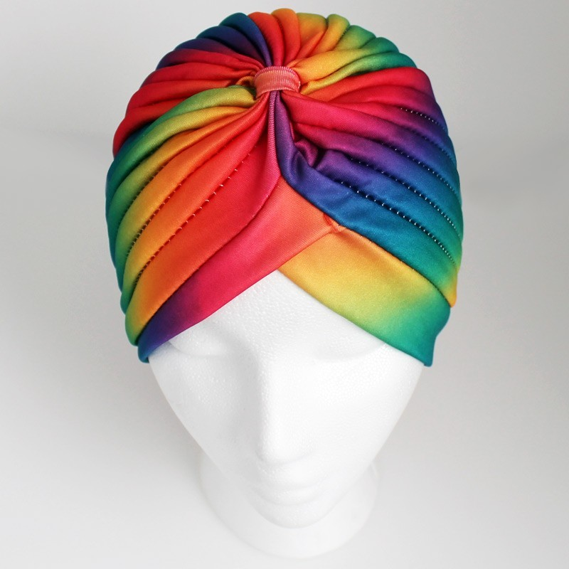 Jersey Turban Hat In Rainbow Print