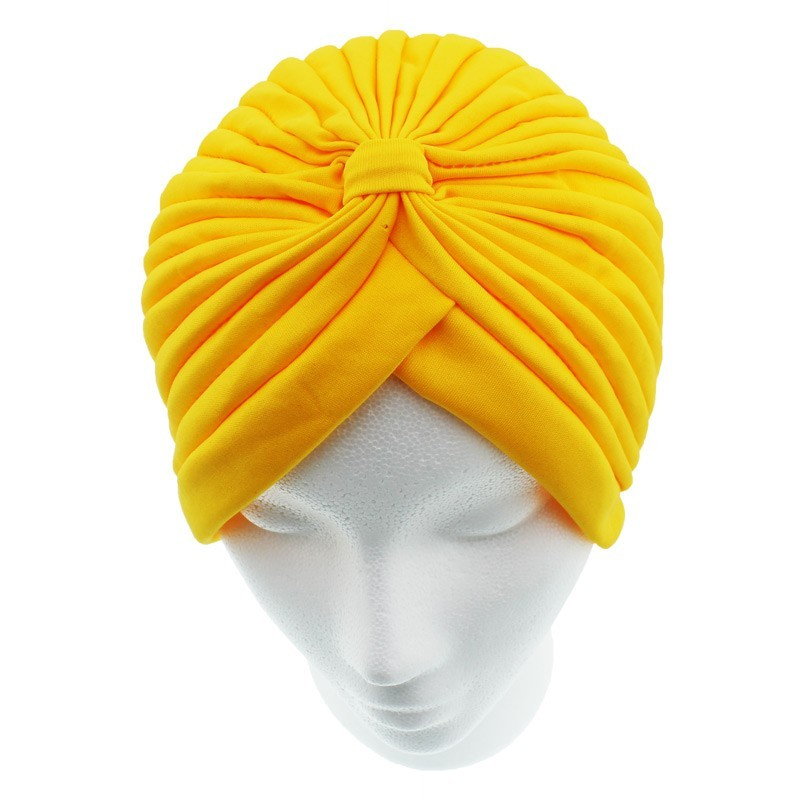 Jersey Turban Hat In Yellow Colour