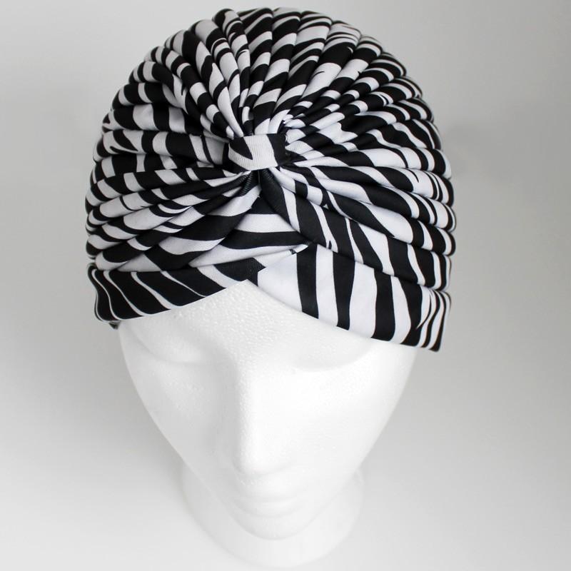 Jersey Turban Hat In Zebra Print