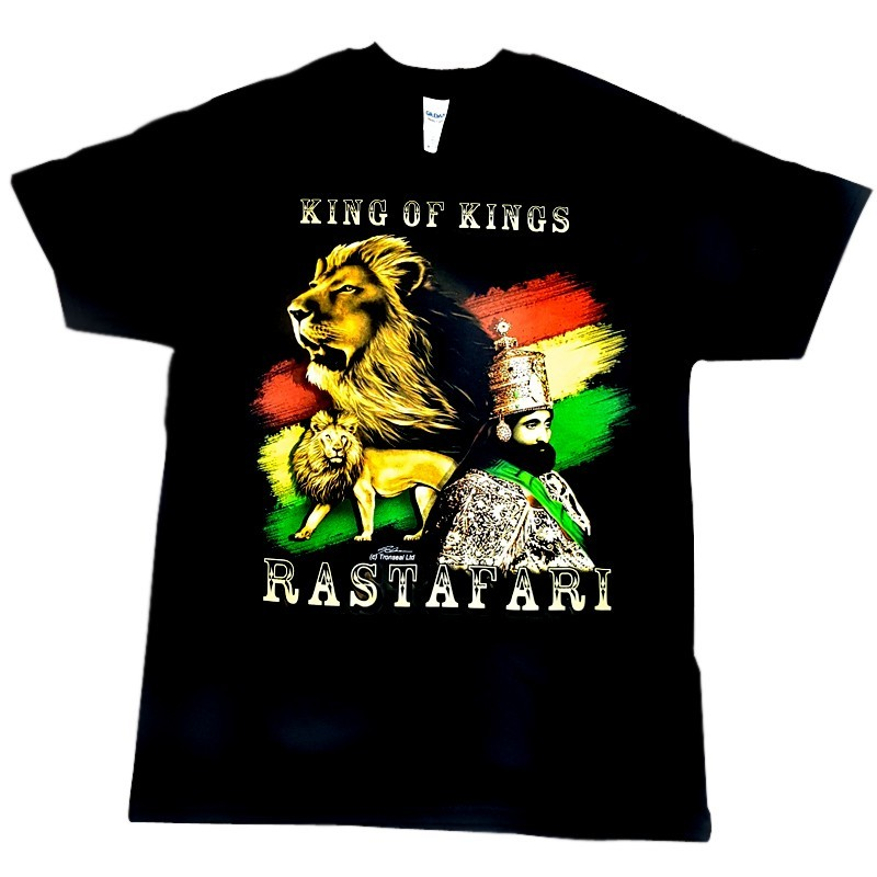 """King of Kings"" Rastafari Design Black Cotton T-Shirt"