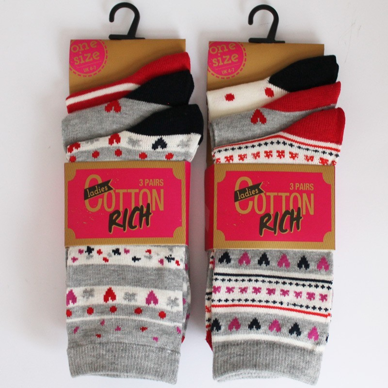 Ladies Cotton Rich Socks - Red And Black Assortment