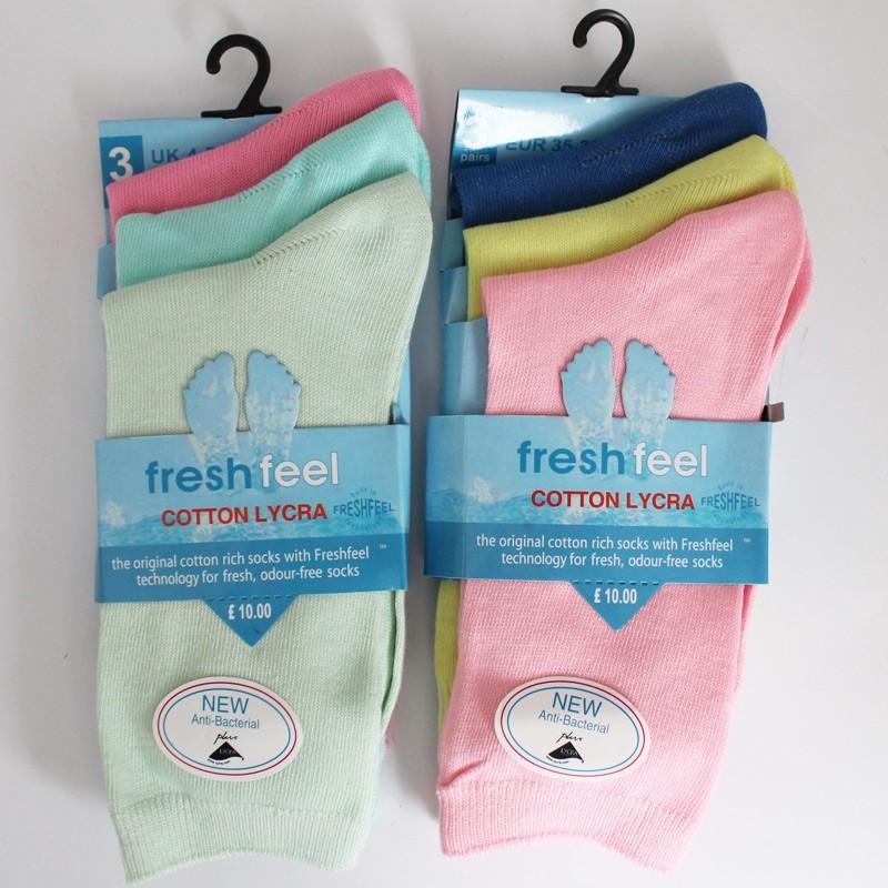 Ladies Fresh Feel Cotton Lycra Ankle Socks-Pastel Colours