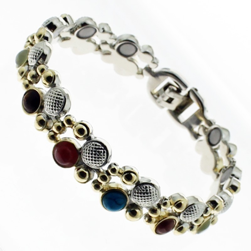 Magnetic Bracelet With 11 Magnets - Two Tone Multicoloured Stones