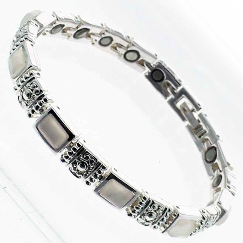 Magnetic Bracelet With 18 Magnets - Silver With Light Pink Stones