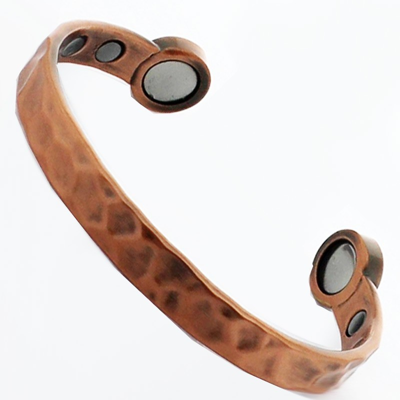 Bio Copper Magnetic Bangle - Hammered Design (Medium)