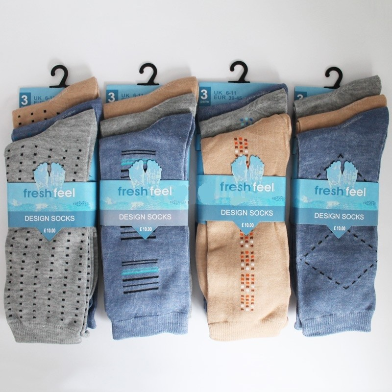 Men's Fresh Feel Non-Elastic Easy Grip Design Socks - Light Assorted
