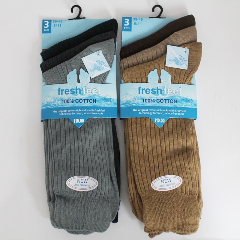 Mens' Fresh Feel Anti-Bacterial Socks (Dark Pastel ASST)