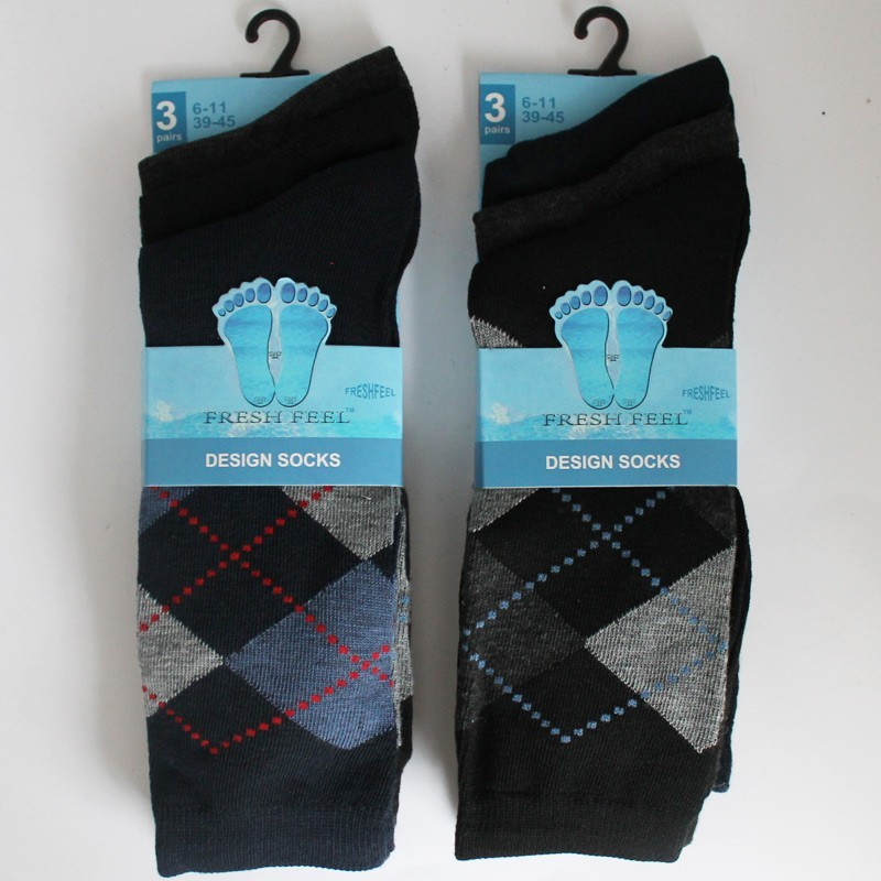 Mens' Fresh Feel Argyle Design Socks