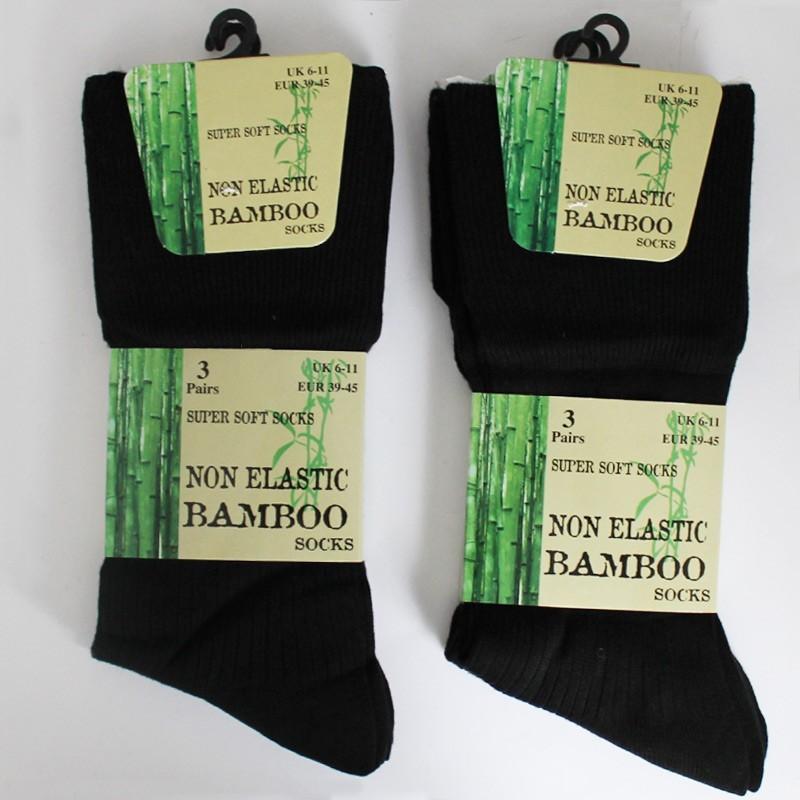 Non Elastic Bamboo Super Soft Socks UK 6-11 (Black)