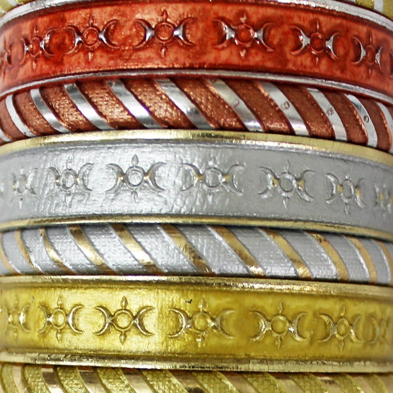 Friendship Leather Bracelet Metallic Assorted On Display Roll
