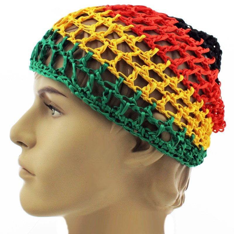 Rasta Cable Knit Beanie Hat