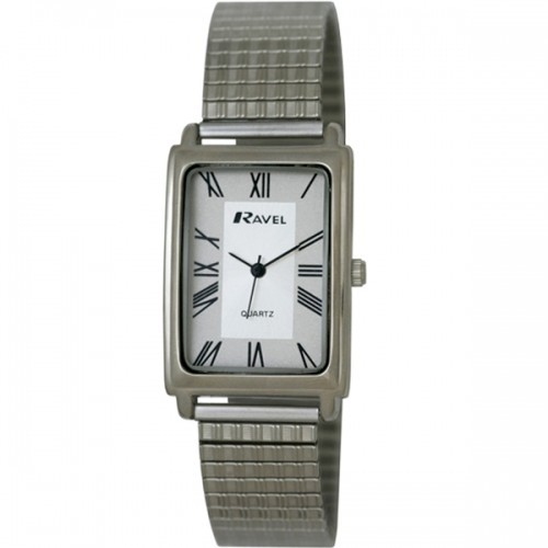 Ravel Mens Polished Rectangular Watch - Silver