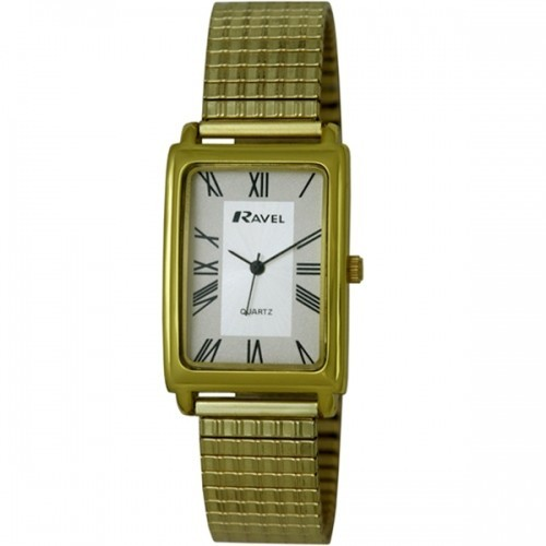 Ravel Mens Polished Rectangular Watch - Gold