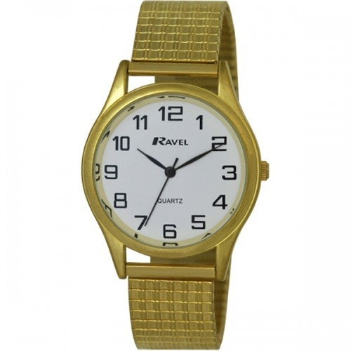 Ravel Mens Polished Round Watch - Gold