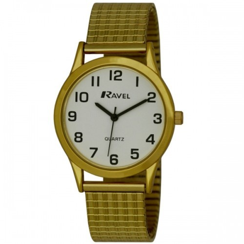 Ravel Mens Polished Round Watch - Gold and White