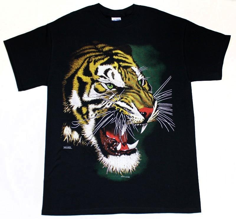 Tiger Roar Face Design Black Cotton T-Shirt