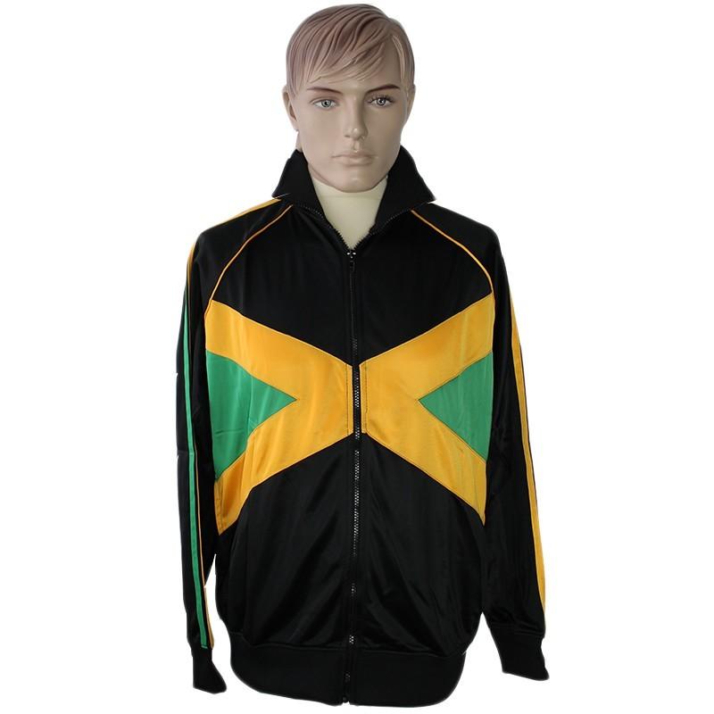 Unisex Jamaican Flag Tracksuit Set Collared Top Elasticated Waist Trouser