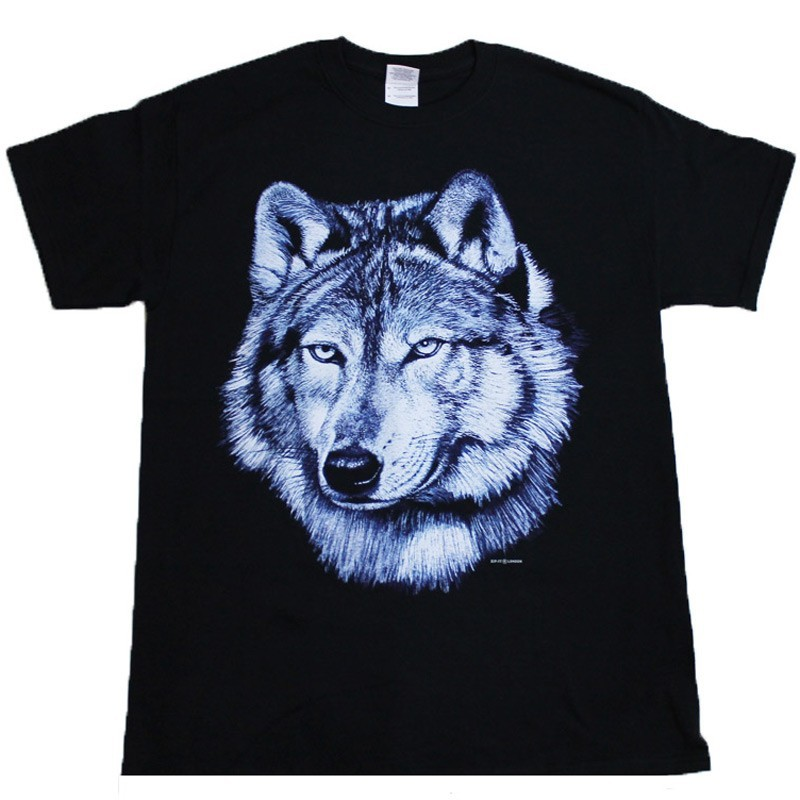 Lone Wolf Face Design Black Cotton T-Shirt