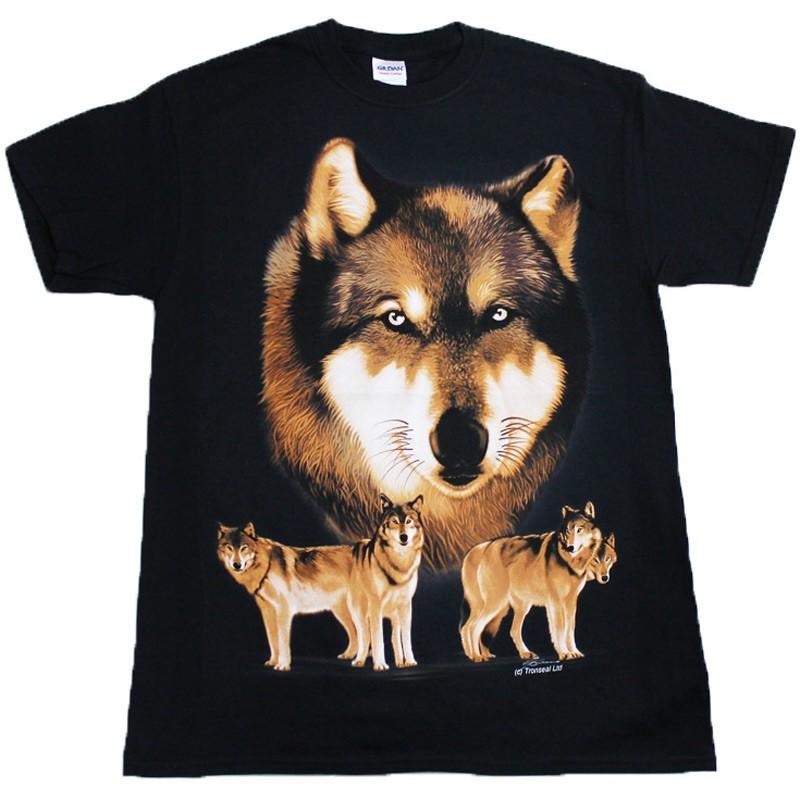 Wolf Pack Black Cotton T-Shirt