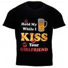 """Hold My Beer While I Kiss...'' Design Black Cotton T-Shirt"