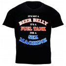 """It's Not A Beer Belly It's A Fuel Tank...'' Design Black Cotton T-Shirt"