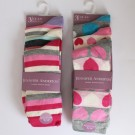 Ladies Cotton Rich Socks Heart & Stripes Design With Honeycomb Top
