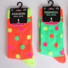 Ladies Neon Ankle Socks - Dots Pattern