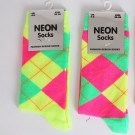 Ladies Neon Argyle Pattern Socks (Assorted Colours)