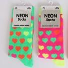Ladies Neon Heart Pattern Socks (Assorted Colours)