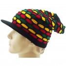 Mens Rasta Slouch Peak Hat - Rasta Colours