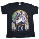 Wolf Dreamcatcher Black Cotton T-Shirt