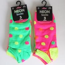 Ladies Neon Trainer Socks - Dots Pattern