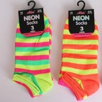 Ladies Neon Trainer Socks - Stripes Patern