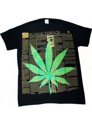 """High Times"" Design Black Cotton T-Shirt"