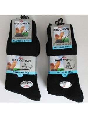 Aler 100% Cotton Men's Platnium Style Socks - Black