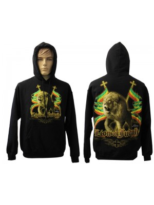 Lion Of Juddah Rasta Design Printed Black Hoodie