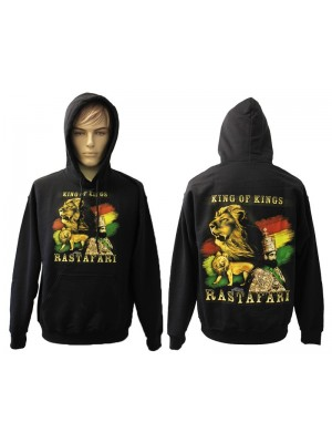 """King of Kings"" Rastafari Design Printed Black Hoodie"