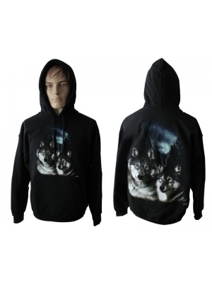 Brothers Wolf Design Printed Black Hoodie