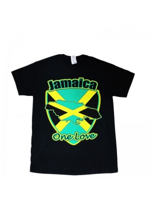 Jamaica One Love Design Black Cotton T-Shirt