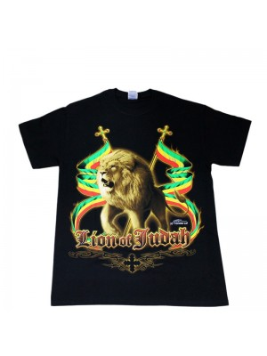 Lion Of Judah Design Black Cotton T-Shirt