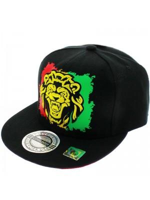 City Hunter Design Snapback Cap- Rasta Lion