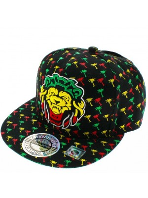 City Hunter Design Snapback Cap- Rasta Lion & Palms