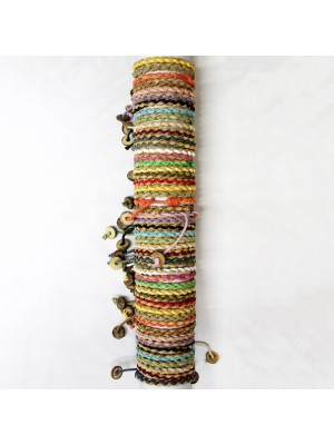 Friendship Bracelet Plated With Wood Button On A Display Roll