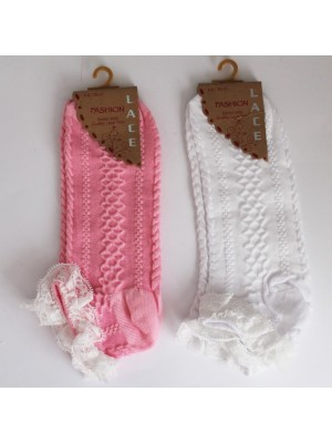 Girls Fashion Socks With Quality Lace Trim Assorted Colours