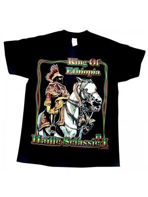 Haile Selassie Design Black Cotton T-Shirt