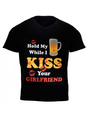"""""""Hold My Beer While I Kiss...'' Design Black Cotton T-Shirt"""