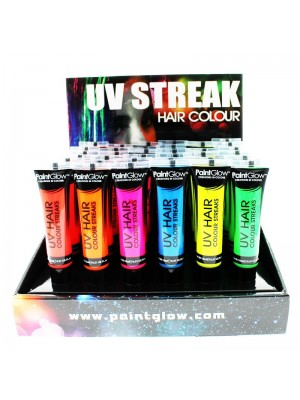 Paint Glow UV Neon Hair Colour Streaks - Full Tray (36 Pcs)