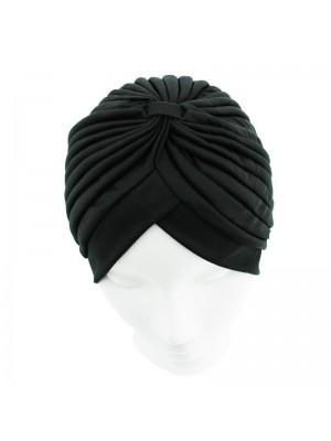 Jersey Turban Hat In Dark Black Colour