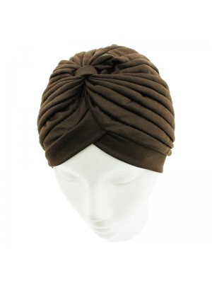 Jersey Turban Hat In Brown Colour